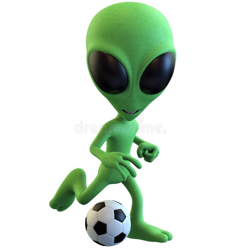 Zielony kreskówka obcy Bawić się piłkę nożną royalty ilustracja