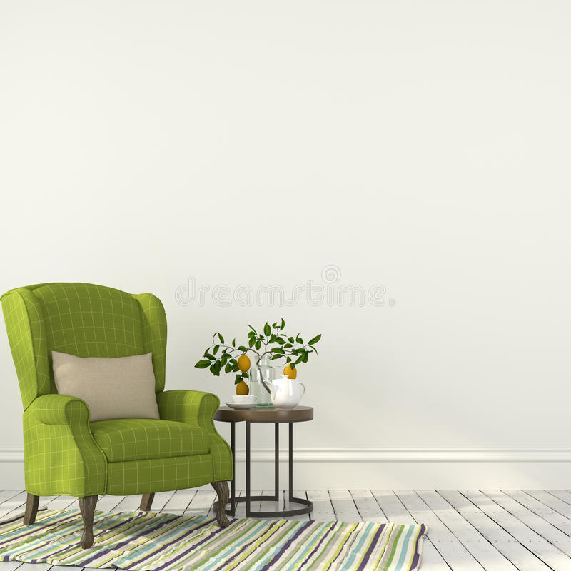Zielony krzesło z stołem w białym wnętrzu obrazy royalty free
