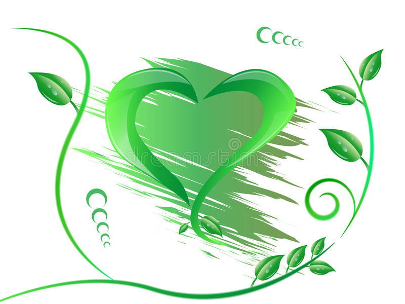 Zielony kształt odizolowywający serce ilustracja wektor