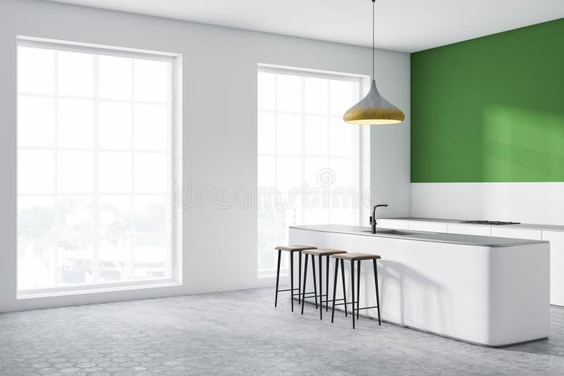 Zielony kuchnia kąt z barem royalty ilustracja