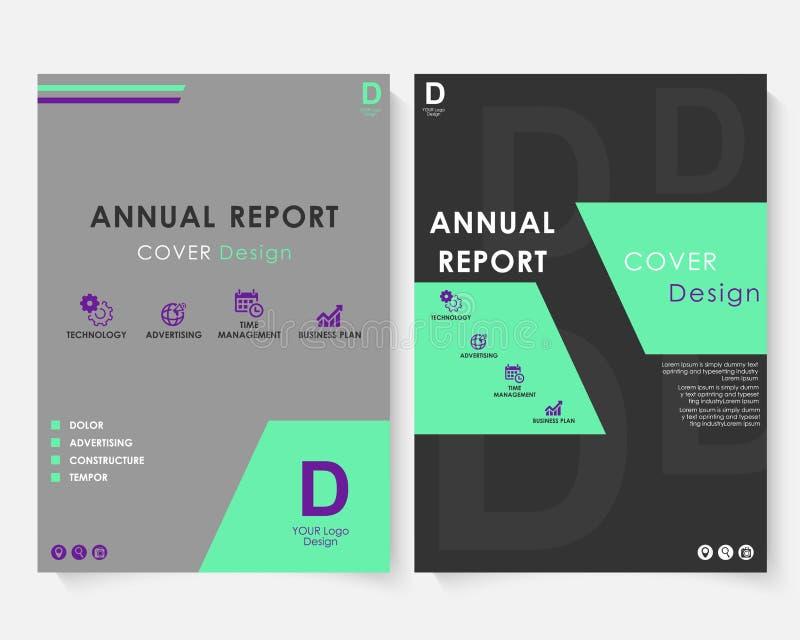 Zielony kwadratowy sprawozdanie roczne pokrywy projekta szablonu wektor Broszurki pojęcia prezentaci strony internetowej portfoli ilustracja wektor