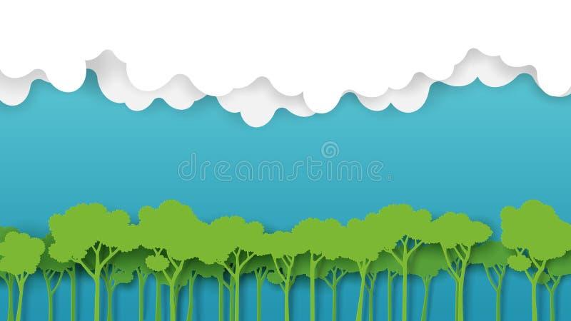 Zielony lasu i niebieskiego nieba sztuki papierowy styl royalty ilustracja