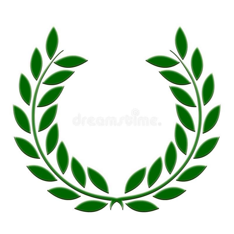 Zielony laurowy wianek na białym tle fotografia stock