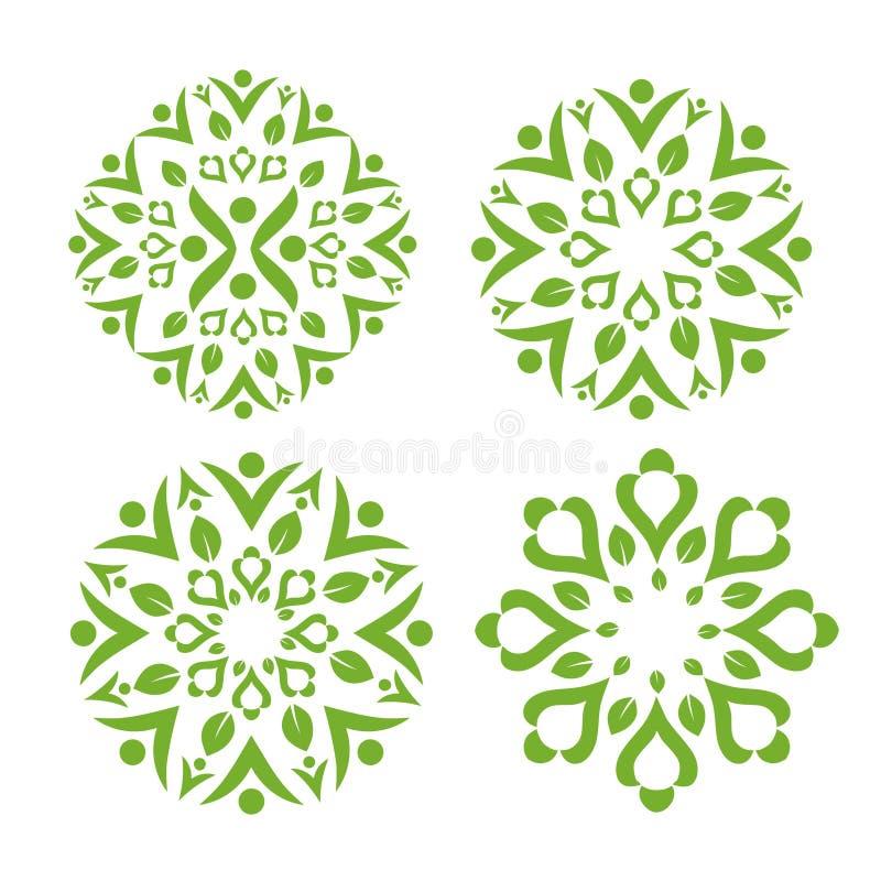 Zielony liść dekoruje z zdrowym swash symbolem ilustracji