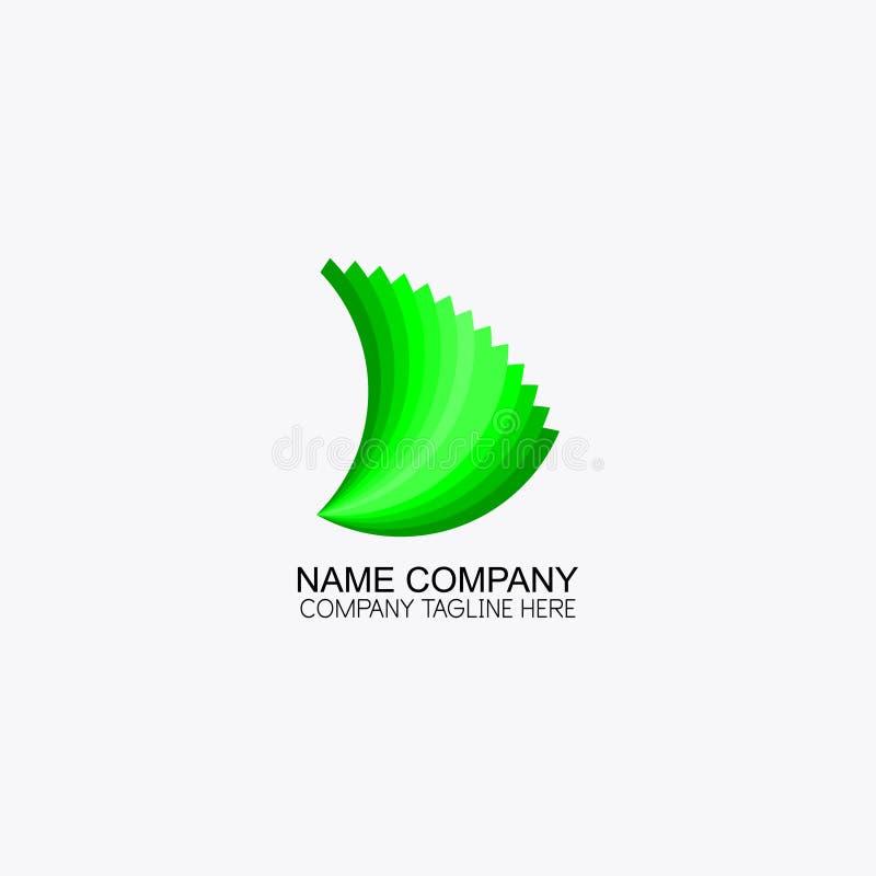 Zielony liść metryka logo ilustracja wektor