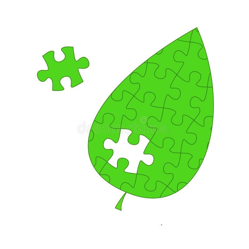 zielony liść pojęcie eco problemy, pomoc natura, środowiskowy zniszczenie ilustracja wektor