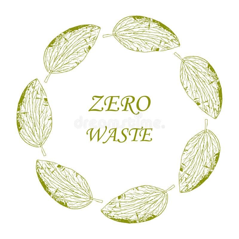 Zielony liść z napisem Szablon projektu logo wektorowego i odznaka Zero odpadów fotografia stock