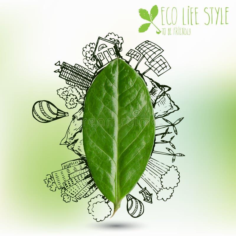 Zielony liść z okrąg ekologii doodles Kreślący eco elementy z drzewnymi liśćmi ilustracji