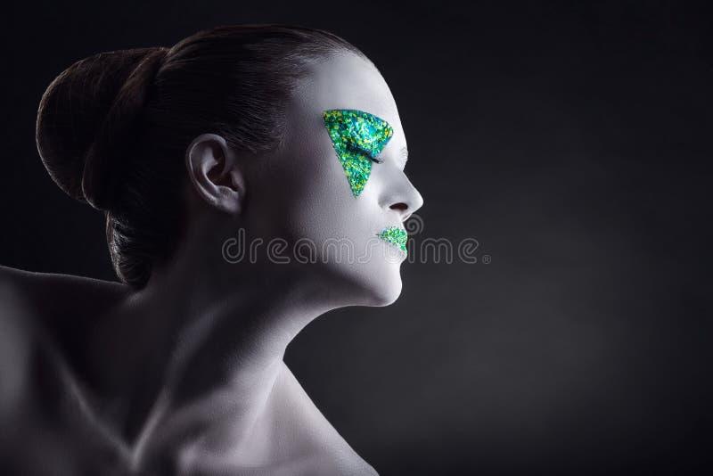 zielony makeup zdjęcie stock