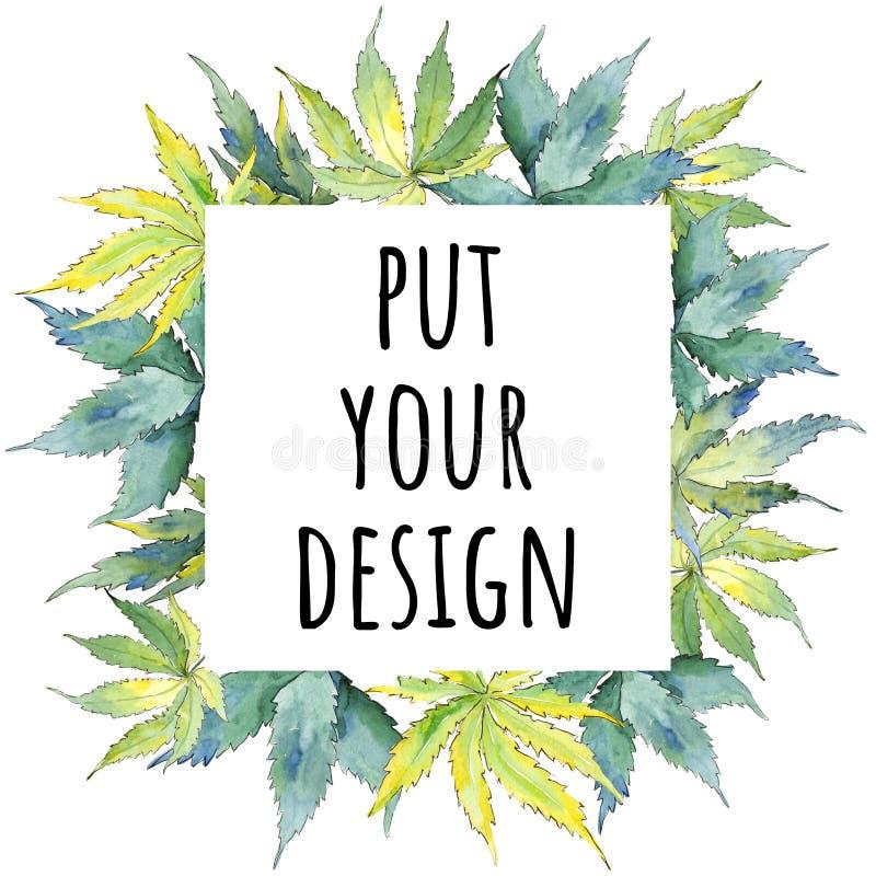 Zielony marihuana liść Liść rośliny ogródu botanicznego kwiecisty ulistnienie Ramowy rabatowy ornamentu kwadrat ilustracji