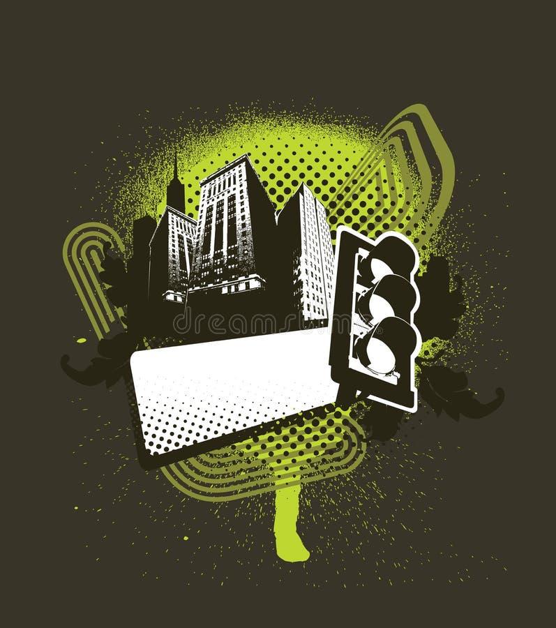 zielony medalion miejskie ilustracji