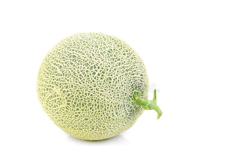 Zielony melon odizolowywający na białym tle, kantalupów melony zdjęcie stock