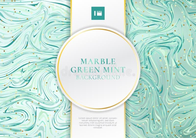 Zielony mennica marmuru tło i tekstura z etykietka luksusu stylu przestrzenią dla teksta białą i złotą ilustracji