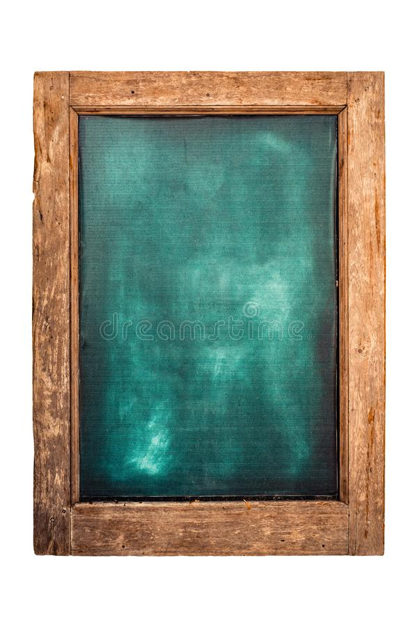 Zielony menu chalkboard z drewnianą ramą dla restauracji lub sklepu Odizolowywaj?cy na bia?ym tle z ?cinek ?cie?k? zdjęcia stock