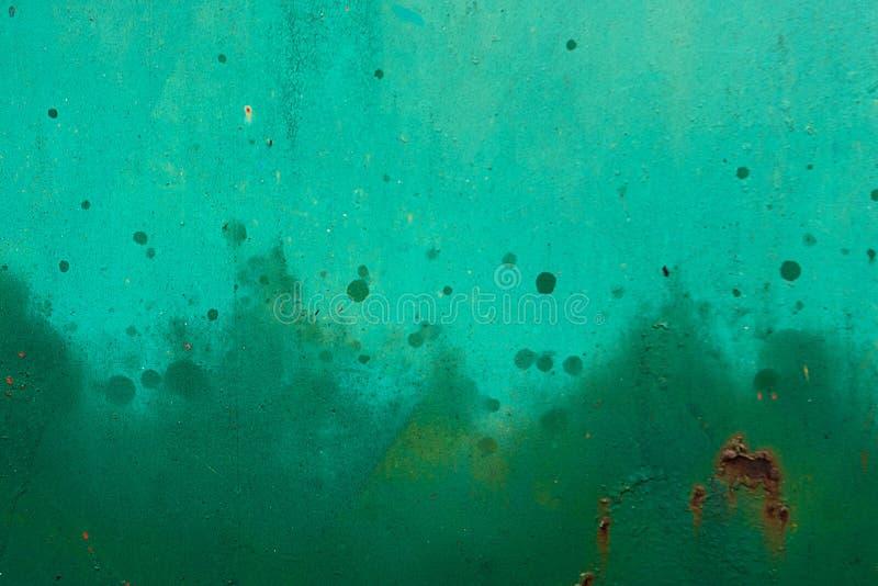 Zielony metal malująca powierzchnia z kiści farbą Tekstury lub abstrakta tło zdjęcie stock