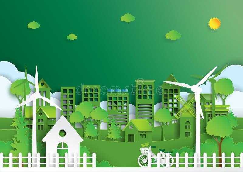 Zielony miasto środowiska pojęcia papieru sztuki styl ilustracja wektor