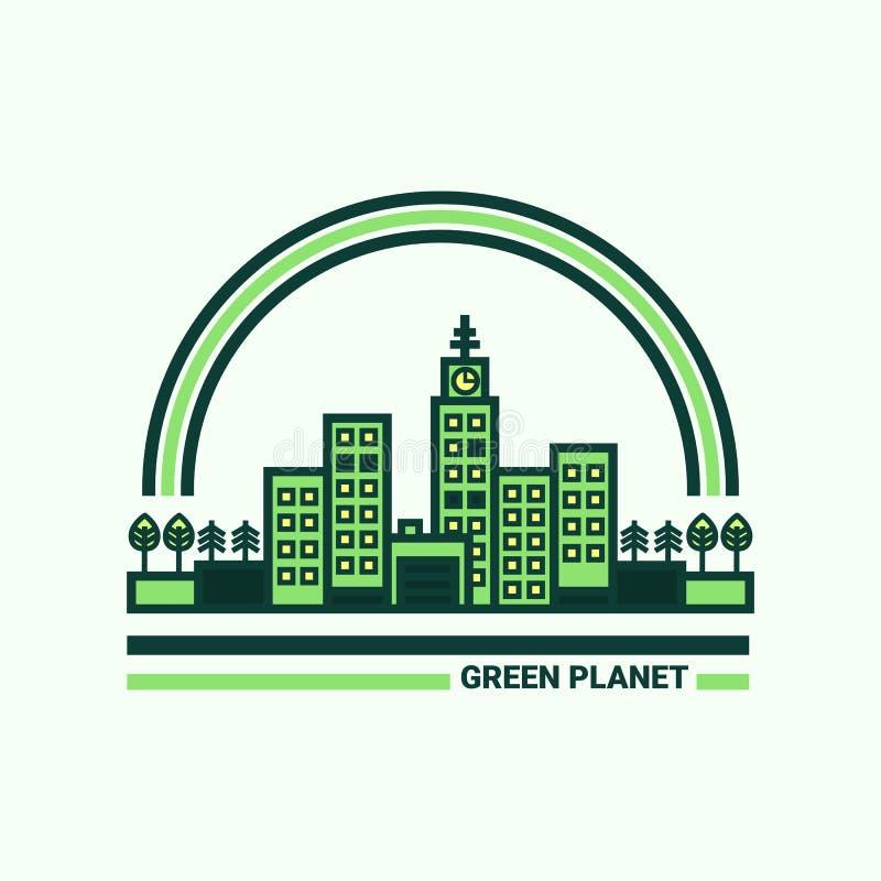 Zielony miasto ekologii ilustracyjny tematu wektor ilustracji