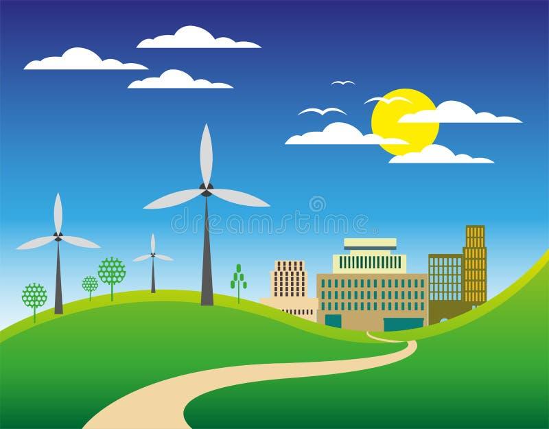 Zielony miasto krajobrazu tło royalty ilustracja