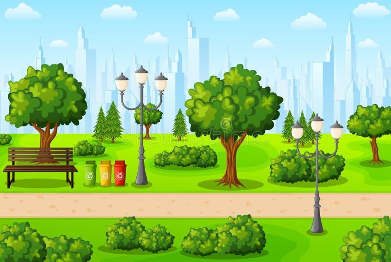 Zielony miasto park z ławką i gratem ilustracja wektor