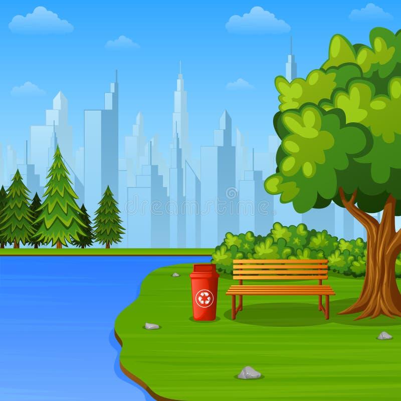 Zielony miasto park z ławką i jezioro na podmiejskim ilustracji