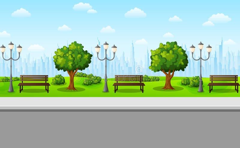 Zielony miasto park z ławkami, streetlights i drzewami, ilustracja wektor