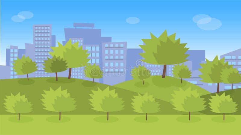 Zielony miasto park z gazonami i drzewami royalty ilustracja
