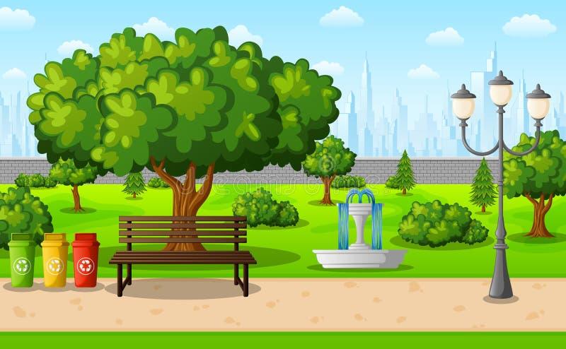Zielony miasto park z grodzkimi budynkami royalty ilustracja