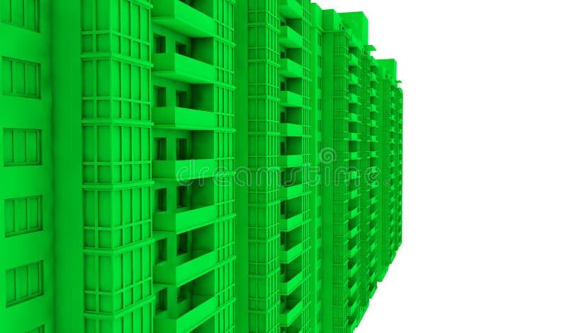 Zielony mieszkania 3d rendering, pojęcie zdrowy pokolenie ilustracji