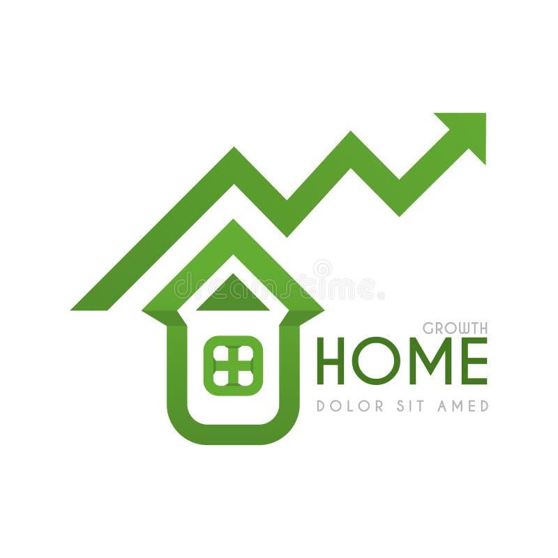 Zielony mieszkaniowy domowy logo z wysokimi pieniężnych i zysku gwarancjami życzliwy zieleń domu logo z wysokim inwestorskim zysk royalty ilustracja