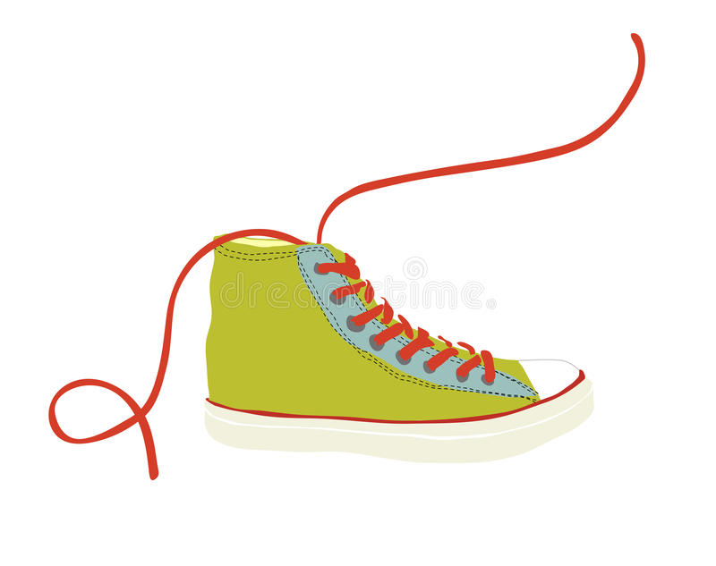 Zielony modniś młodości tenisówka z czerwonym shoelace odizolowywającym ilustracja wektor