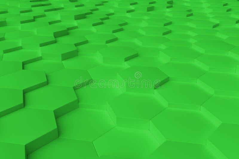 Zielony monochromatyczny sześciokąt tafluje abstrakcjonistycznego tło zdjęcia royalty free