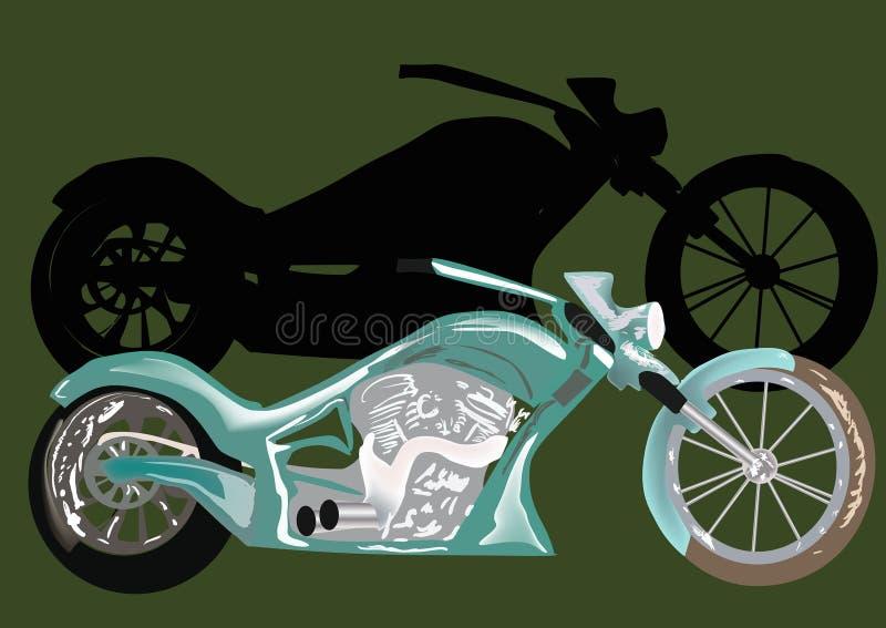 Download Zielony motocykl z cieniem ilustracja wektor. Ilustracja złożonej z zaciemnia - 28967278