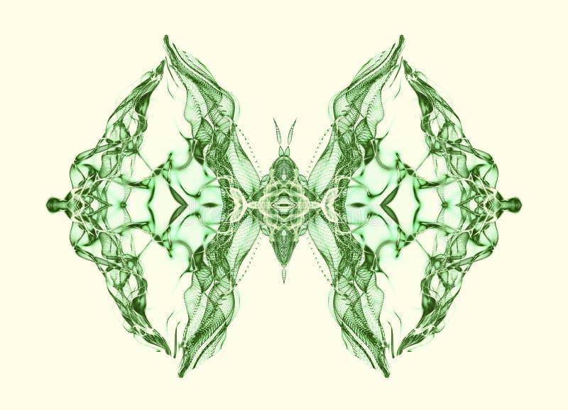 Zielony motyl nad miękkiego światła tłem ilustracji