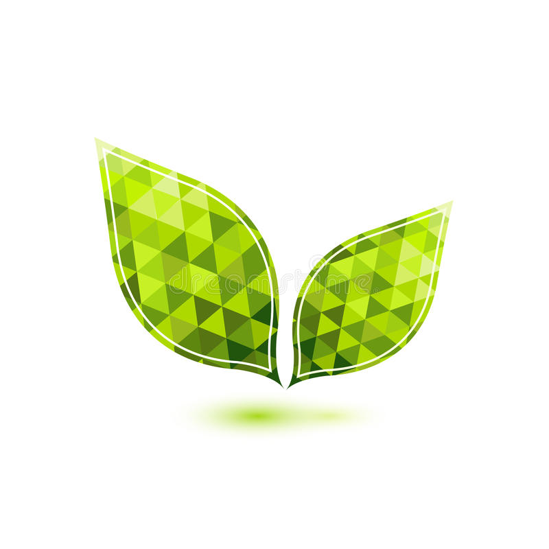 Zielony mozaika wektoru liść ilustracji