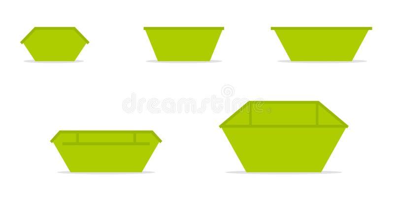Zielony odpady pominięcia kosza ikony set ilustracji