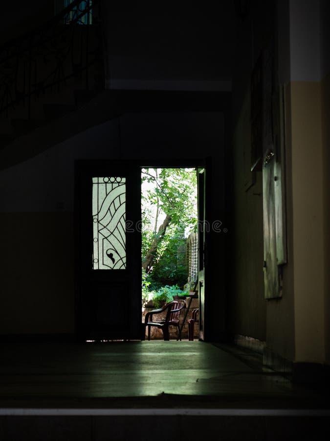 Zielony ogród chujący w ciemnym przejściu zdjęcia royalty free