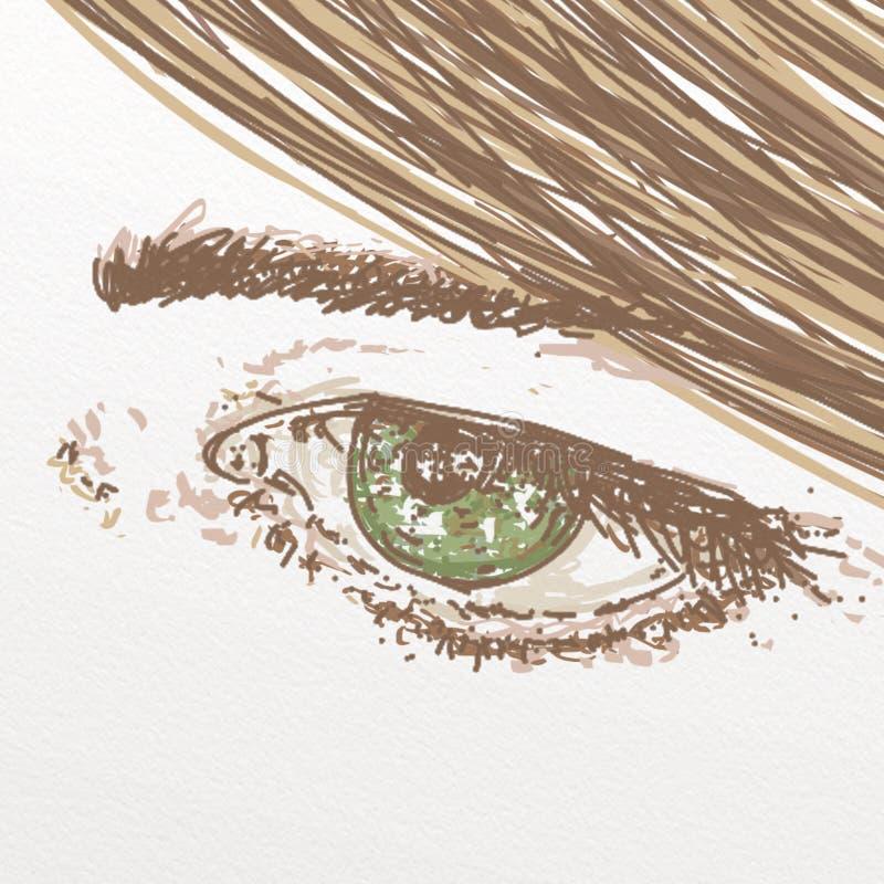 Zielony oko dla kosmetyków, makeup ilustracji