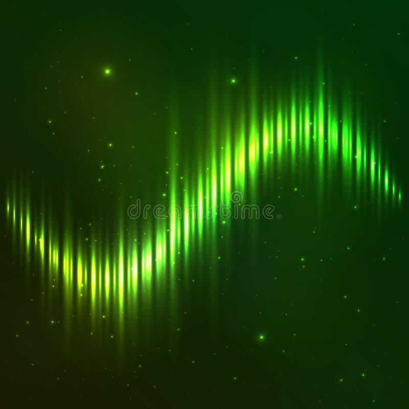 Zielony olśniewający wektor fala wyrównywacz ilustracji