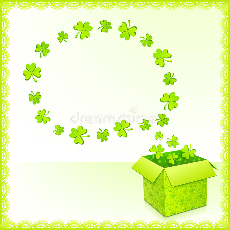 Zielony papierowy pudełko z koniczyny kartka z pozdrowieniami royalty ilustracja