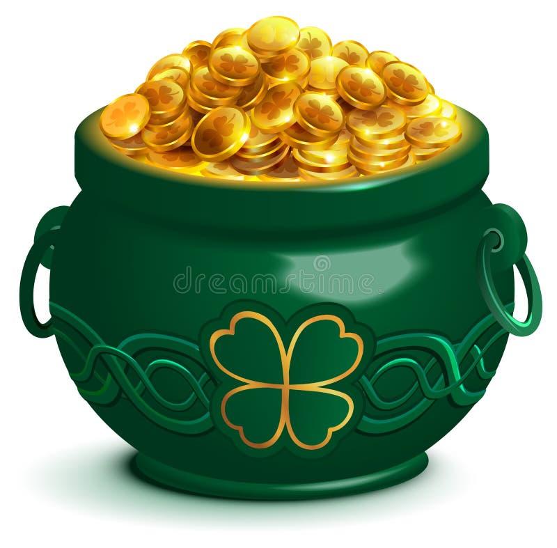 Zielony pełny garnek z złocistymi monetami Puszkuje z cztery liści koniczynowym symbolem Patricks dzień ilustracji