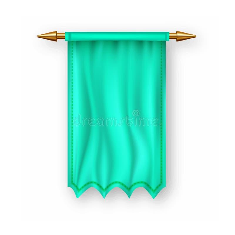 Zielony Pennat flagi wektor Pusty szablon Sztandaru Pennon Szyldowy puste miejsce Heraldyczna 3D Realistyczna Odosobniona ilustra ilustracja wektor