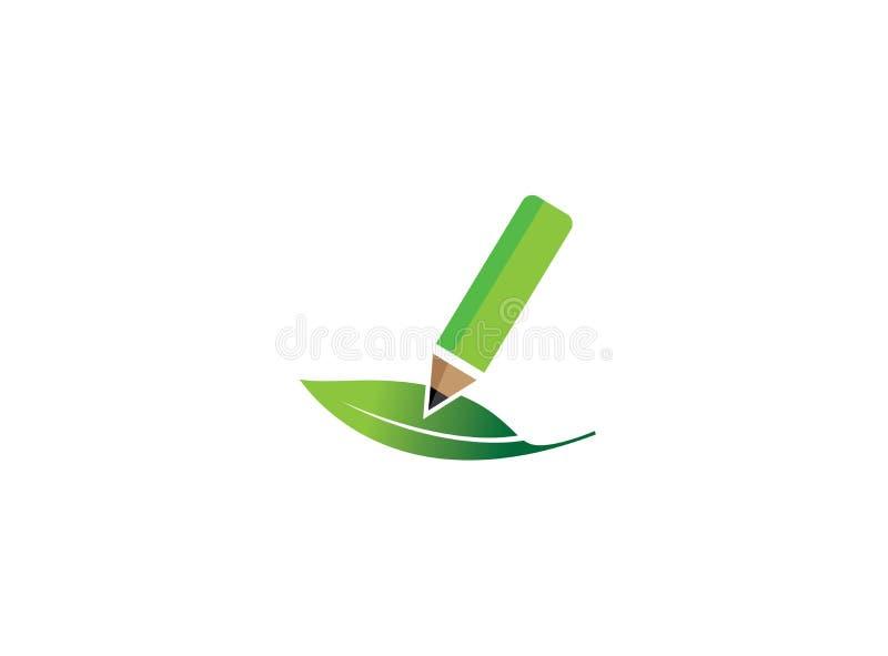 Zielony pióro pisze w liściu, naturalna roślina dla logo projekta ilustracja wektor