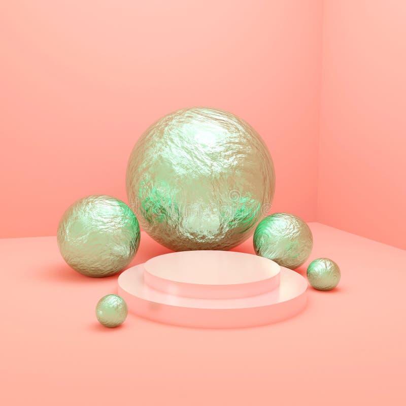 Zielony piłek 3d rendering fotografia stock