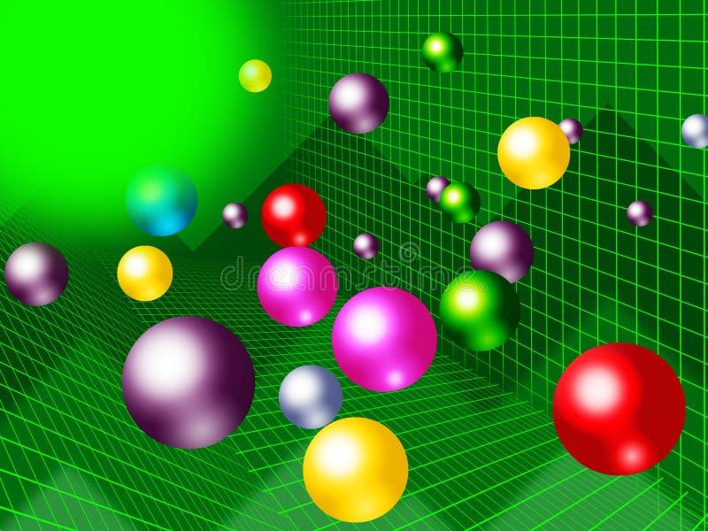 Zielony piłki tło Pokazuje świetlistość Kolorową I wykres ilustracji