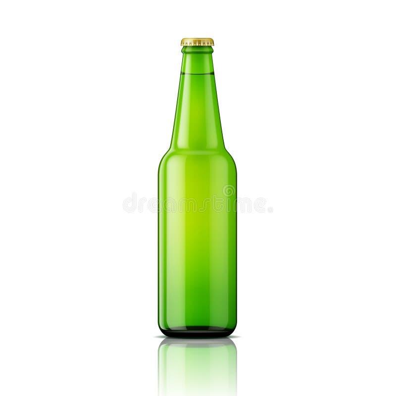 Zielony piwnej butelki szablon royalty ilustracja