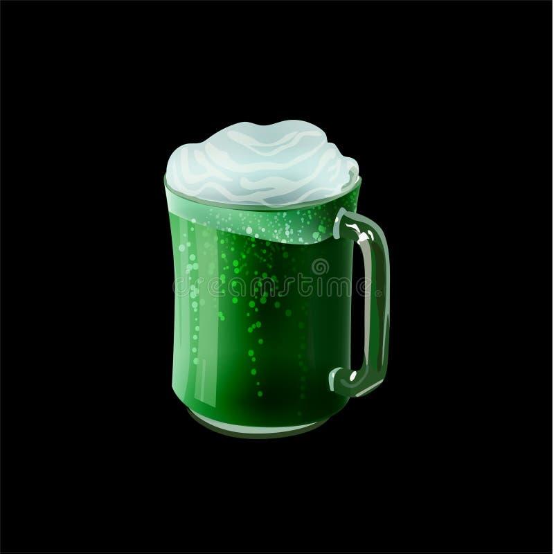 Zielony piwo w kubka wektorze ilustracji