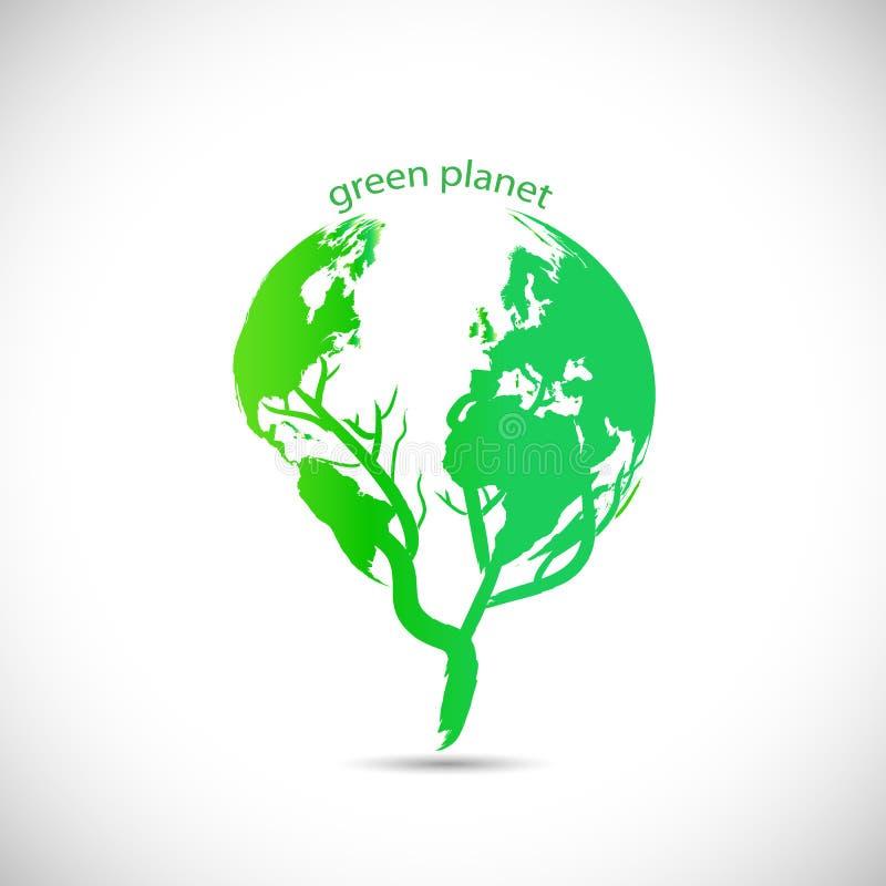 Zielony planeta projekt ilustracji