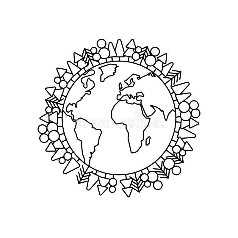 Zielony planety ziemi pojęcie w kreskowym stylu Ziemski dzień i Światowa mapa royalty ilustracja