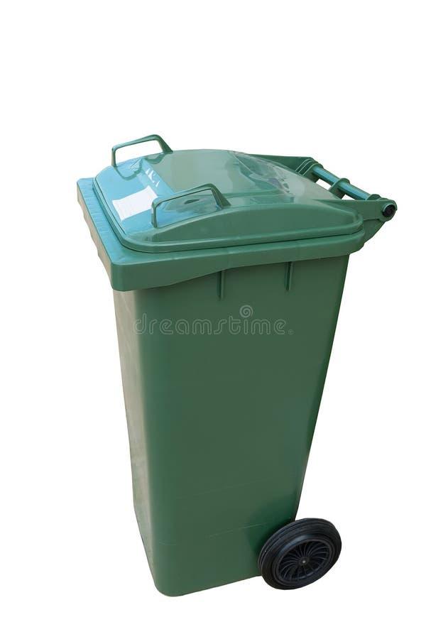 Zielony plastikowy kosz odizolowywający na białym tle zdjęcia royalty free
