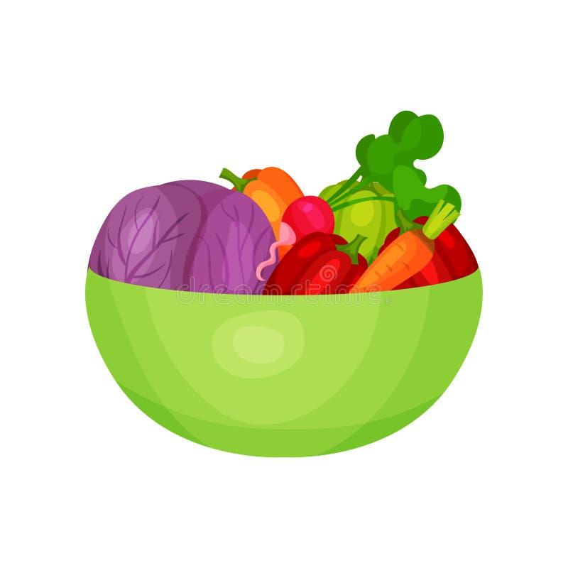 Zielony plastikowy puchar z świeżymi składnikami dla jarskiej sałatki Organicznie i zdrowi warzywa Płaska wektorowa ikona royalty ilustracja